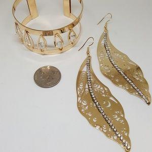 Gold-Tone Rhinestone Cuff Bracelet and Earrings